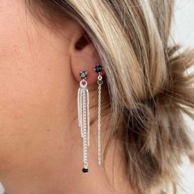 Boucles d'oreilles pendantes argent - Chaînes & Oxydes de zirconium noirs