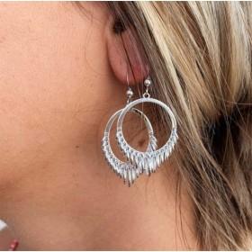 Boucles d'oreilles créoles RONDES argent  - Tombé de petits anneaux