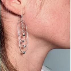 Boucles d'oreilles pendantes argent  - Trilogie d'anneaux & perles ciselées