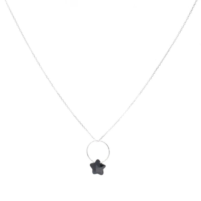 Collier fin Argent - Pendentif anneau & étoile zircon noir