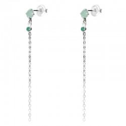 Boucles d'oreilles Doriane - pendantes argent chaîne Aventurine & Onyx verts