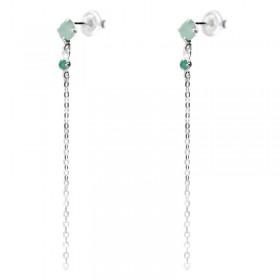 Boucles d'oreilles argent pendantes chaîne Aventurine & Onyx verts