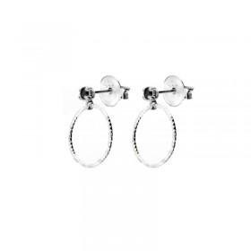 Boucles d'oreilles Doriane - Puces argent - Spinelle noire & Anneau ciselé 12 mm