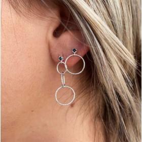 Boucles d'oreilles Puces argent - Spinelle noire & Anneau ciselé 12 mm
