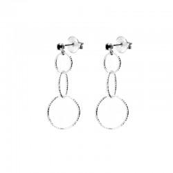Boucles d'oreilles Pendantes argent - Puces Onyx noir & Trilogie d'anneaux