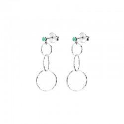 Boucles d'oreilles Pendantes argent - Puces Onyx vert & Trilogie d'anneaux