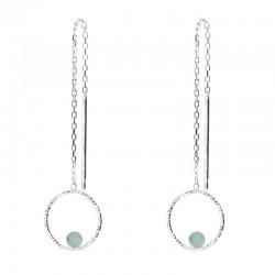 Boucles d'oreilles pendantes argent - Chaînes Aventurine & anneau ciselé