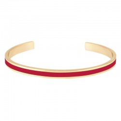 Bracelet jonc ouvert BANGLE UP - Rouge Velours - Laiton doré émail rouge