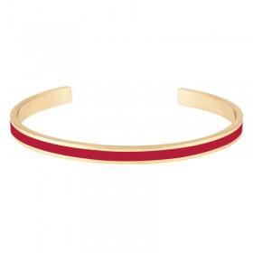 Bracelet jonc ouvert BANGLE UP - Rouge Velours - Laiton doré émail rouge