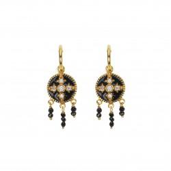Boucles d'oreilles pendantes CROIX - Oxydes & Perles noires