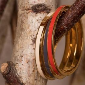 Bracelet jonc fin Bangle fermé laiton doré émail gris ardoise