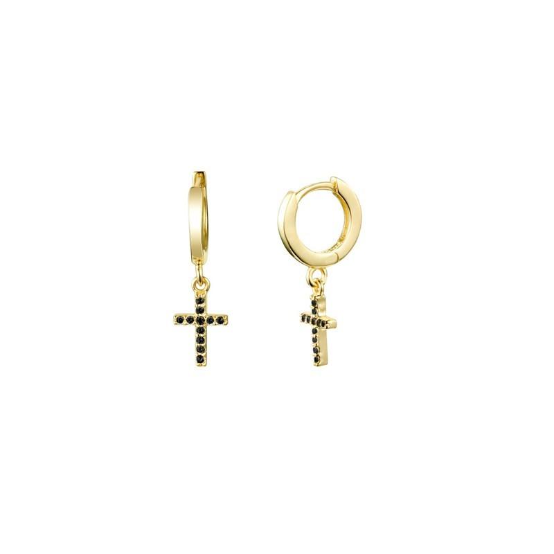 Boucles d'oreilles mini créoles dorées - Croix Zircons noirs