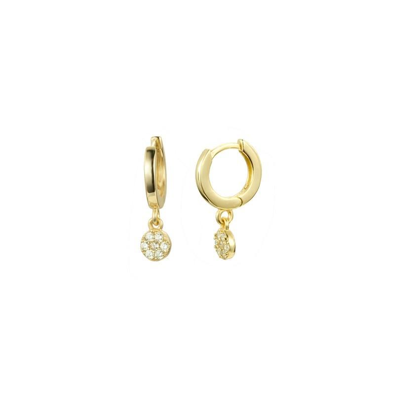 Boucles d'oreilles pendantes mini-créoles dorées - Médaille ronde fleur & Oxydes blancs