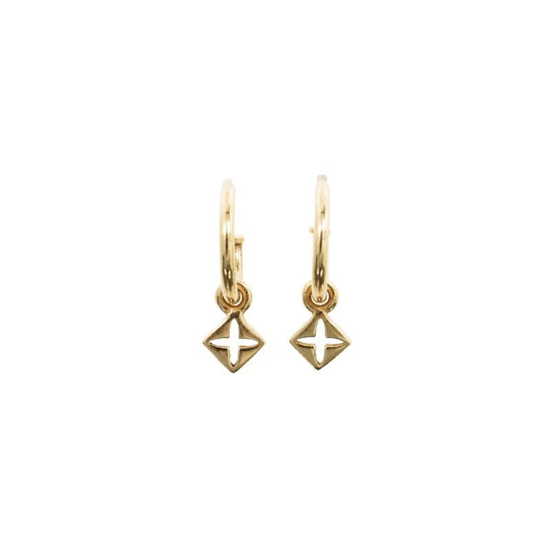 Boucles d'oreilles pendantes dorées - Médaille Carré & Croix