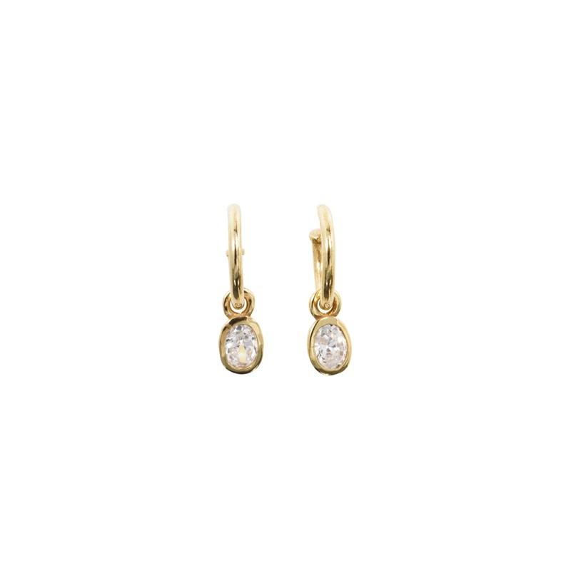 Boucles d'oreilles mini créoles dorées - Médaille ovale Zircon blanc