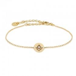 Bracelet Chaîne Gaia doré stylisé médaille & cristal de Swarovski
