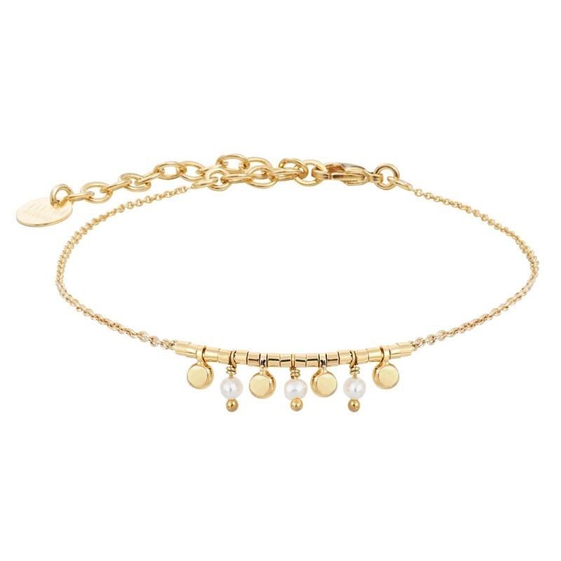 Bracelet Chaîne Sari doré stylisé pampilles & perles d'eau douce