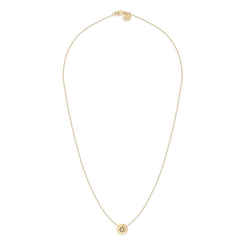 Collier Gaia doré à l'or fin stylisé médaille & cristal de Swarovski