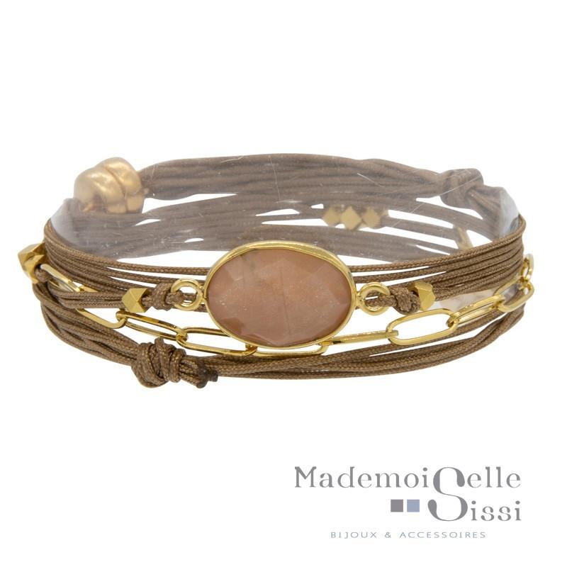 Bracelet multi-rangs Rita - Cordons taupe & Pierre Quartz rose