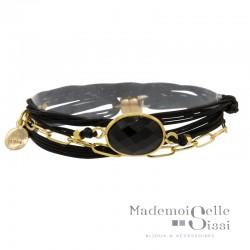Bracelet multi-rangs Rita - Cordons noirs & Pierre Onyx noir