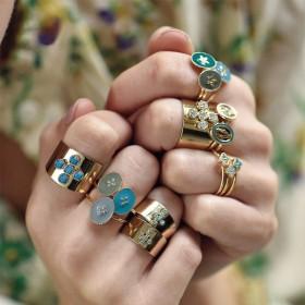 Bague fine ajustable Rachel - Médaillon émaillé bleu canard & Etoile dorée