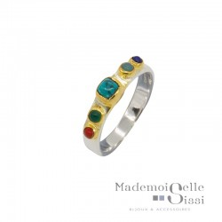 Bague Canyon - Bague ethnique argent doré - Pierres multicolores & Turquoise carrée