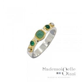 Bague Canyon - Bague ethnique argent laiton doré - Perles Onyx vert & Chrysoprase carré