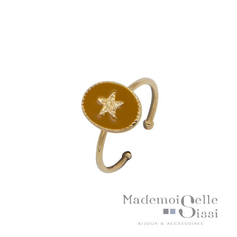 Bague BY GARANCE fine ajustable Rachel - Médaillon moutarde & Etoile dorée