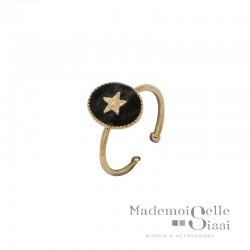 Bague BY GARANCE fine ajustable Rachel - Médaillon noir & Etoile dorée