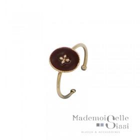 Bague BY GARANCE fine ajustable Rachel - Médaillon bordeaux & Trèfle doré
