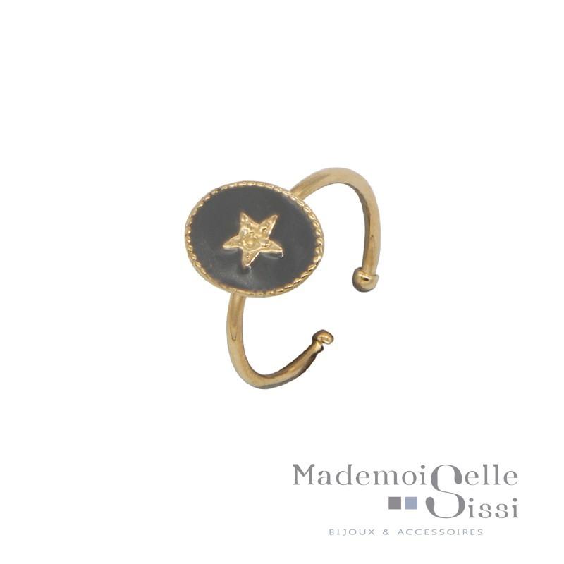 Bague fine ajustable Rachel - Médaillon gris & Etoile dorée