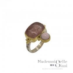 Bague Canyon - Bague ethnique argent doré cabochons Quartz fraise & Opale rose