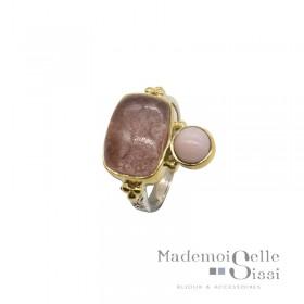 Bague ethnique argent doré cabochons Quartz fraise & Opale rose