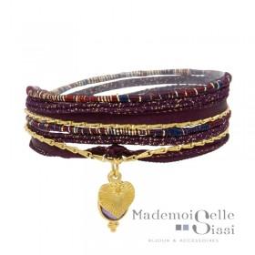 Bracelet multi-tours Jaipur bordeaux dorés Améthyste & Médaille Coeur