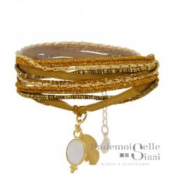 Bracelet BY GARANCE - multi-tours Jaipur - Liens camel dorés & Médaille Feuille