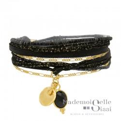 Bracelet BY GARANCE - multi-tours Jaipur noir doré - Onyx & Médaille Ronde