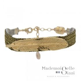 Bracelet Jonc LOLA - Liens de lurex noir doré & Feuille design