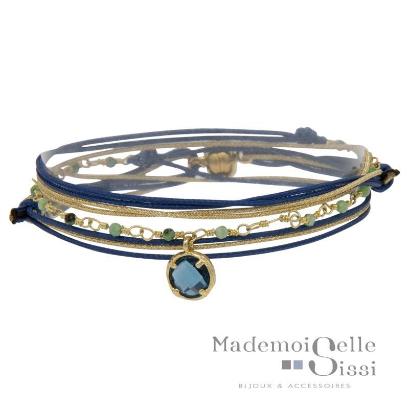 Bracelet BY GARANCE - multi-rangs Jacky - Cordons bleu doré Agates africaines & Cristal bleu