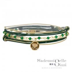 Bracelet multi-rangs Jacky - Cordons vert doré Agates vertes & Cristal marron fumé