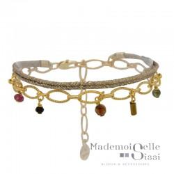 Bracelet multi-rangs Jess - Lien beige doré & Chaîne stylisée pierres