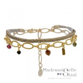 Bracelet BY GARANCE - multi-rangs Jess - Lien beige doré & Chaîne stylisée pierres