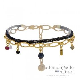 Bracelet multi-rangs Jess - Lurex bleu doré & Chaîne pampilles pierres