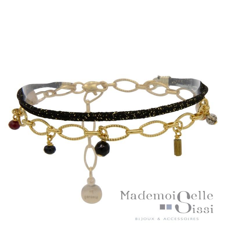 Bracelet multi-rangs Jess - Lien noir doré & Chaîne stylisée pierres semi-précieuses