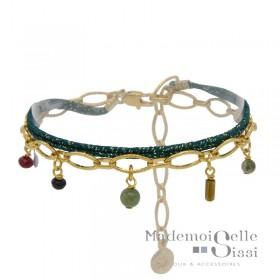 Bracelet BY GARANCE - multi-rangs Jess - Lien vert doré & Chaîne stylisée pierres