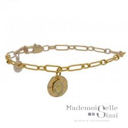 Bracelet Fin doré Lise - Chaîne & Médaille Vierge cristal Swarovski