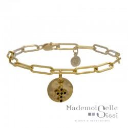 Bracelet BY GARANCE - chaîne doré Lise - Pendentifs Médaille ronde & Croix noire