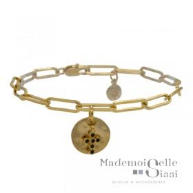 Bracelet chaîne doré Lise - Pendentifs Médaille ronde & Croix noire