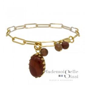 Bracelet Fin BY GARANCE - chaîne doré Amanda - Médaille Pierre rose & Perles rouges