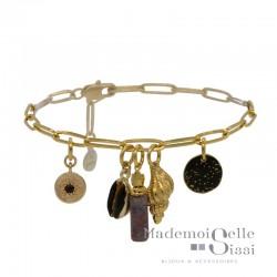 Bracelet BY GARANCE - chaîne doré Chance - Pampilles Cauris & Médailles stellaires