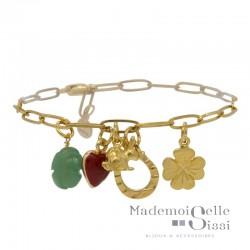 Bracelet Fin chaîne doré Chance - Breloques Porte-Bonheur vert rouge